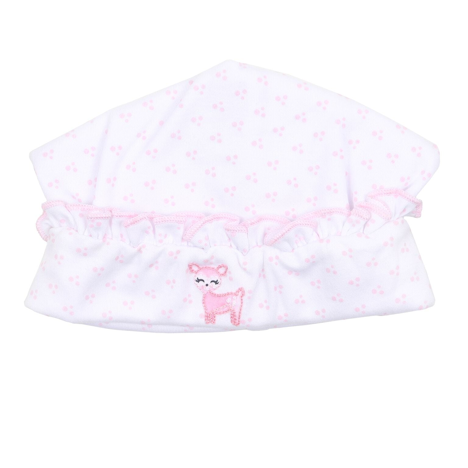 GIRLS EMBROIDERED OH DEER RUFFLE HAT