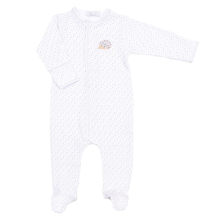 HEDGEHUGS & KISSES - EMBROIDERED BABY GROW (GREY)
