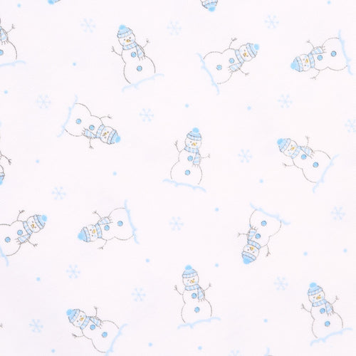 PRINTED BLUE FROSTY FUN RUFFLE BABYGROW