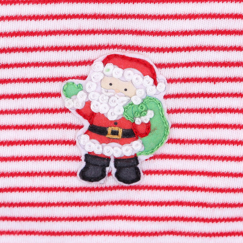 EMBROIDERED STRIPED SANTA'S HELPER BABYGROW