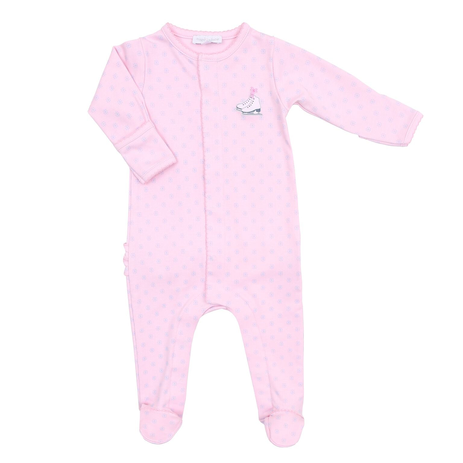 PRINTED PINK RUFFLE WINTER WONDERLAND BABYGROW