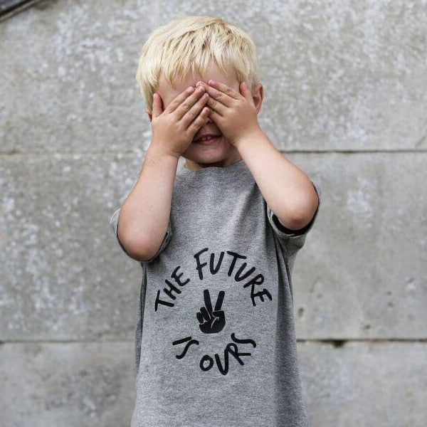 FUTURE IS OURS T SHIRT - GREY SHORT SLEEVE
