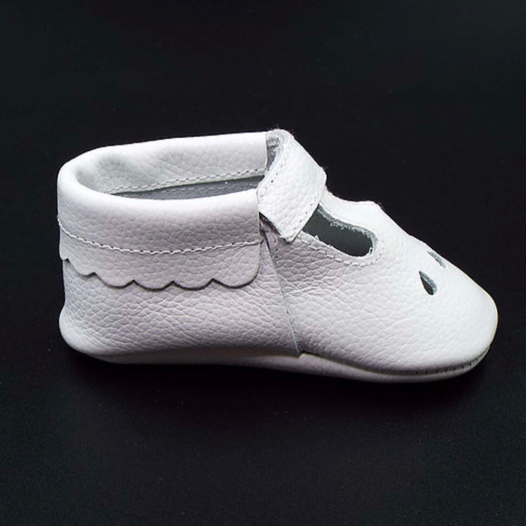 LEATHER T BAR MOCCASINS - COTTON WOOL