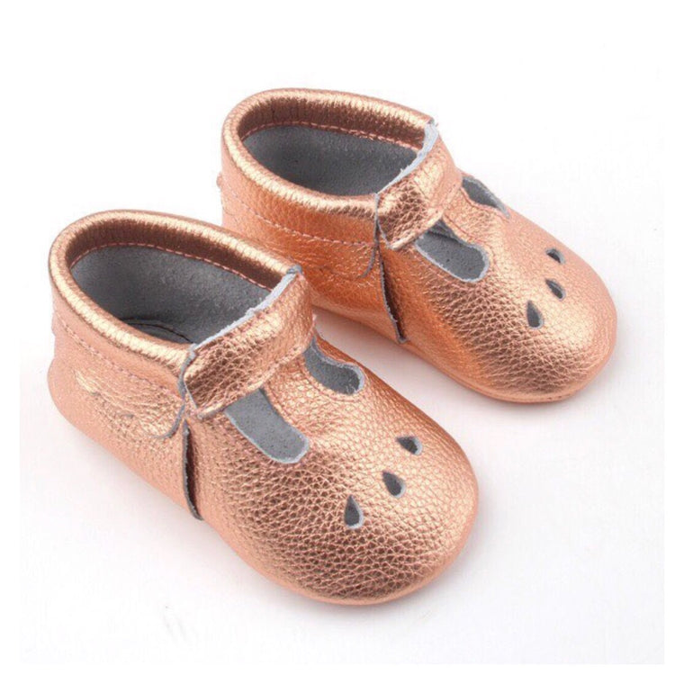 LEATHER T BAR MOCCASINS - ROSE WATER