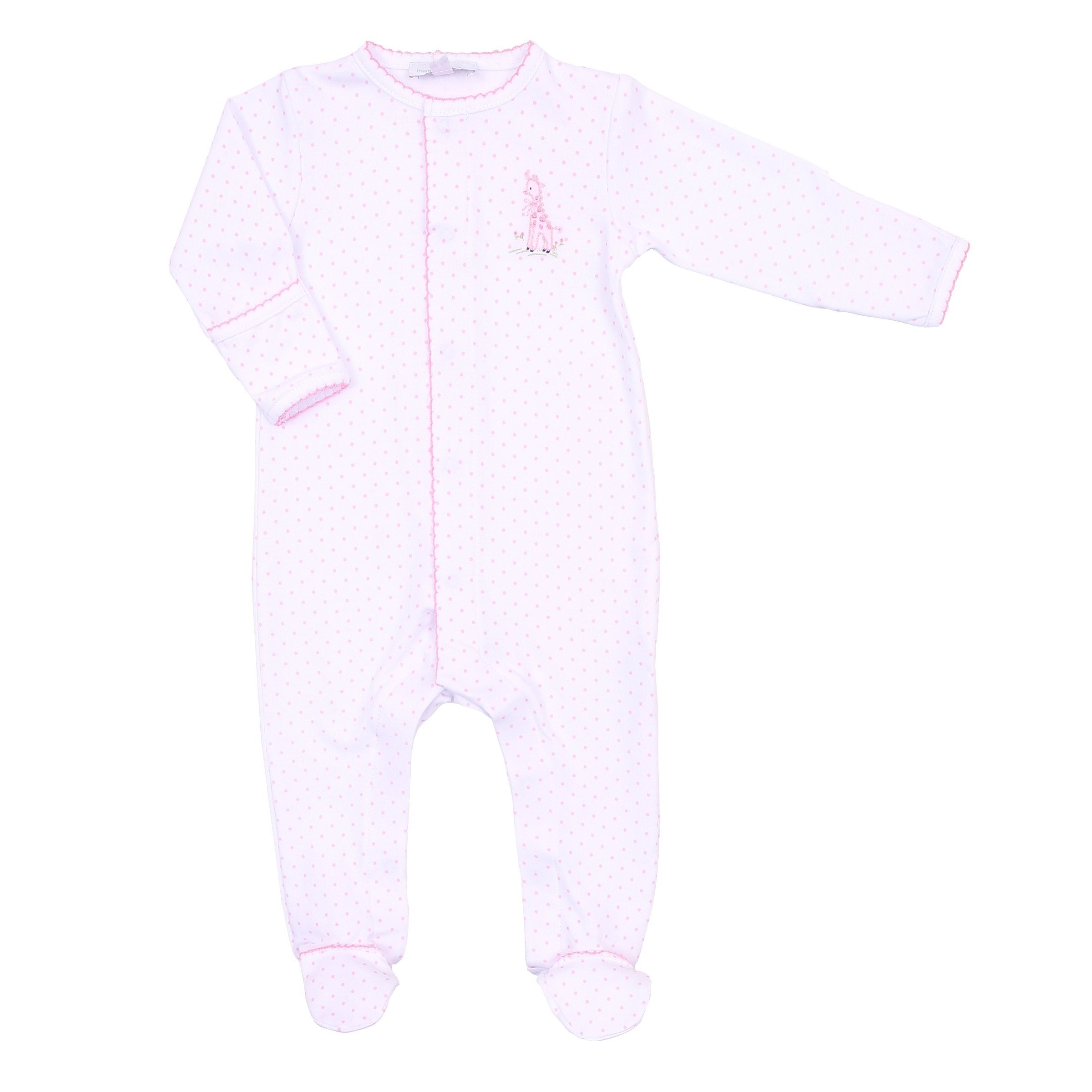 VINTAGE GIRAFFE - EMBROIDERED BABY GROW (PINK)