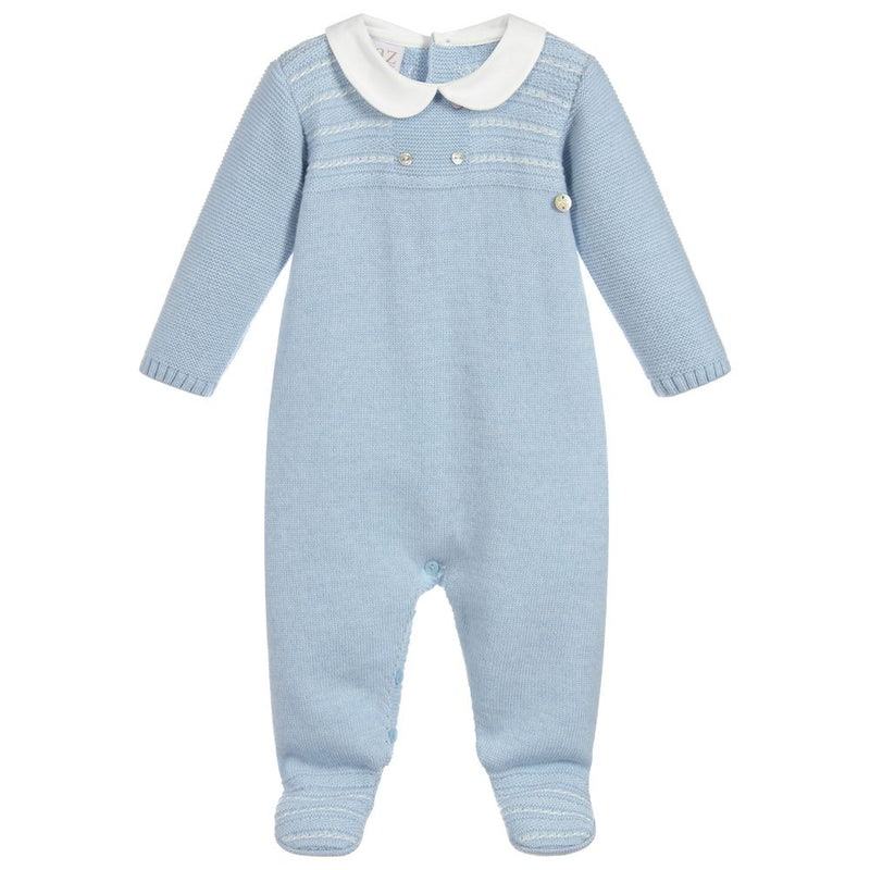 POWDER BLUE KNITTED BABYGROW