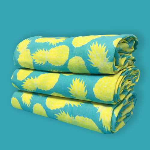 LARGE MUSLIN SWADDLE - PINEAPPLE