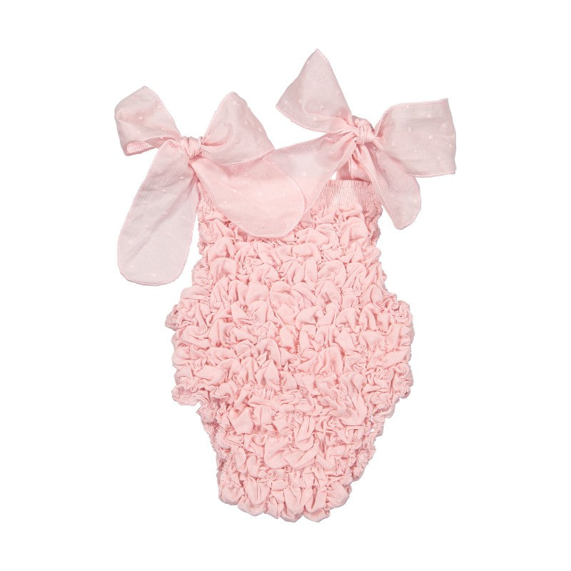COTTON PLUMETTI SWIMSUIT - PINK FRILL