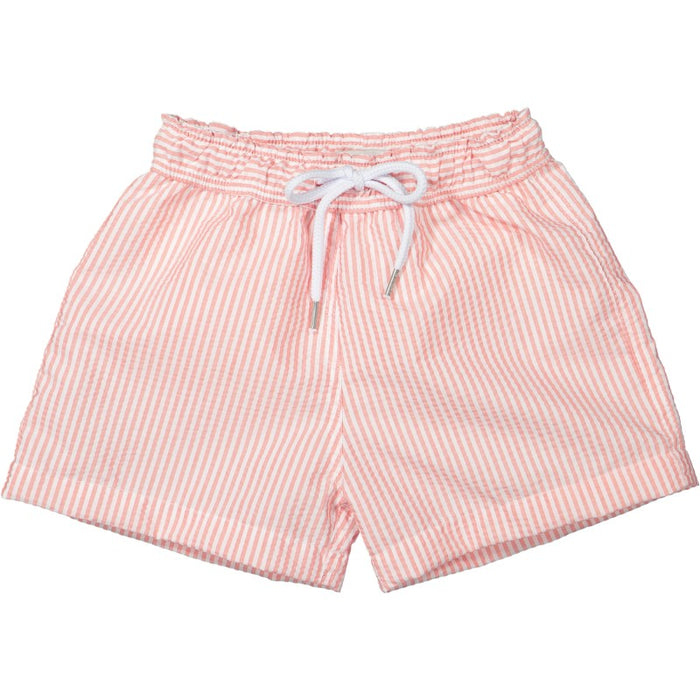 STRIPED SWIM SHORTS  - CORAL