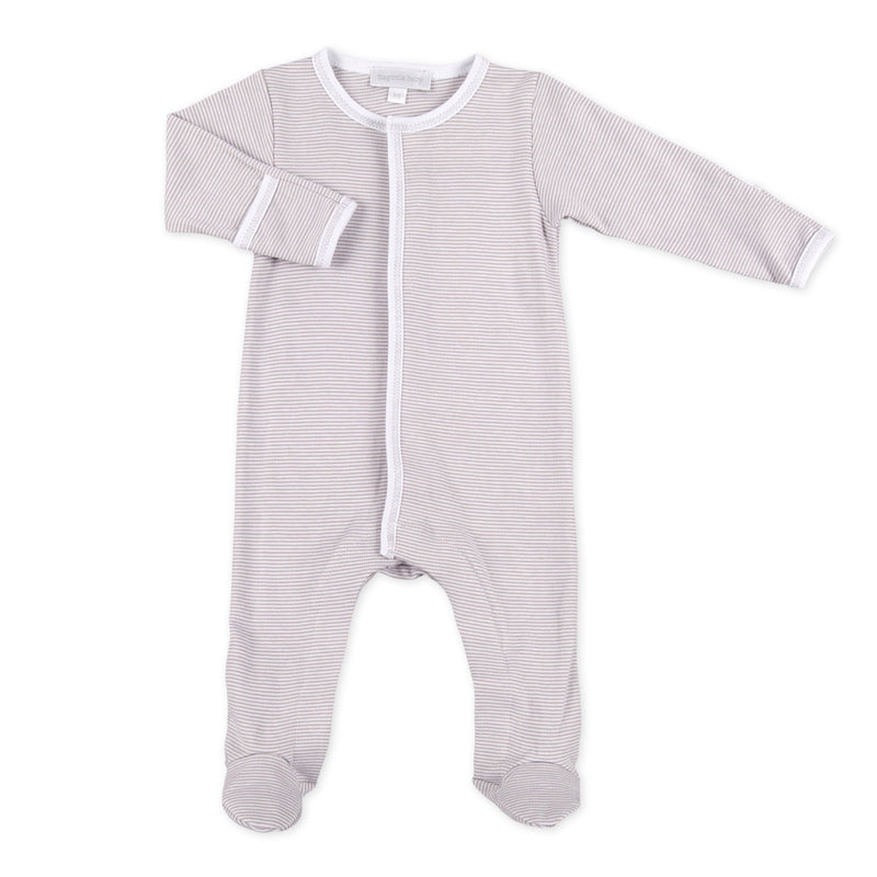 ESSENTIALS STRIPED BABY GROW - WHITE & GREY