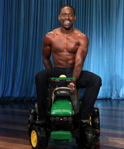 Emmy Award-winning actor Sterling K Brown on The Ellen Show wears One Denim topless image 3