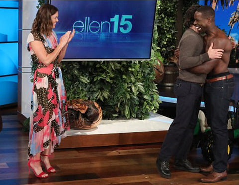Emmy Award-winning actor Sterling K Brown on The Ellen Show wears One Denim topless image 2