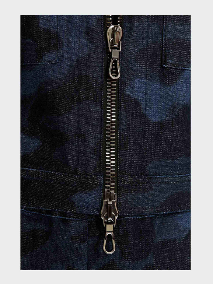 Women - Denim Jacket - Laser Military - Italian Recycled Denim - detail image - one denim