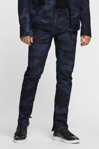 Men - Slim Fit Zip Jean - Laser Military - Italian Recycled Denim - front image - one denim