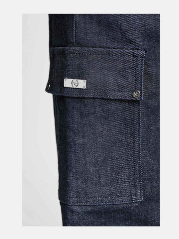Women -  Denim Cargo Pant - Raw Italian Denim - detail image - one denim