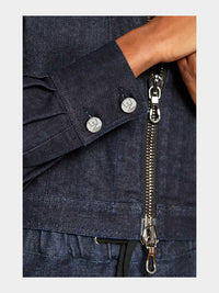 Women - Oversized Denim Jacket - Raw Italian Denim - front detail image - one denim