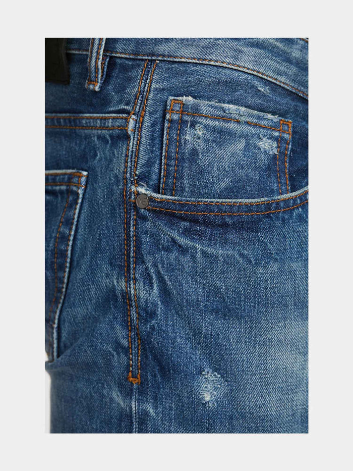 Men - Slim Fit Jean - Selvedge Denim - detail side image - one denim