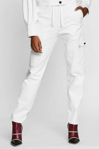 Women - White Denim Cargo pant  - Italian Organic Denim - front image - one denim
