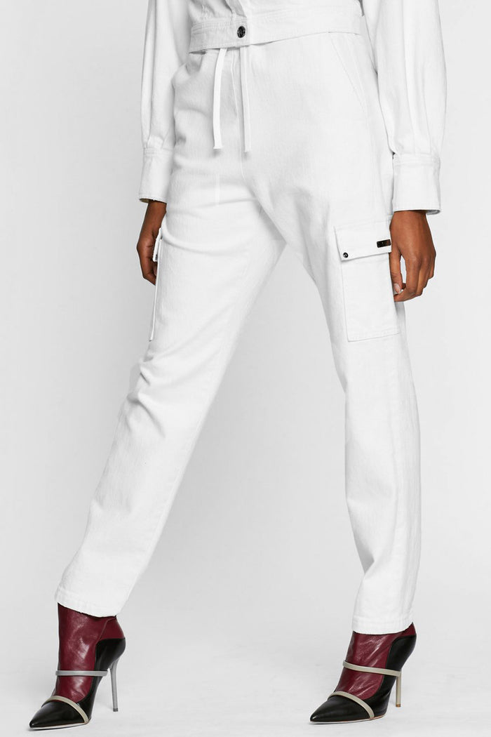 Women - White Denim Cargo pant  - Italian Organic Denim - front 2 image - one denim
