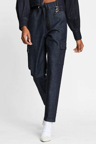Women -  Denim Cargo Pant - Raw Italian Denim - front image - one denim