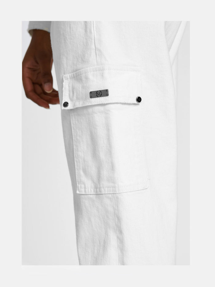 Women - White Denim Cargo pant  - Italian Organic Denim - detail image - one denim