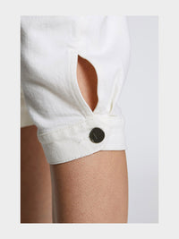 Women - White Denim Harem Pant  - Italian Organic Denim - detail 2 image - one denim