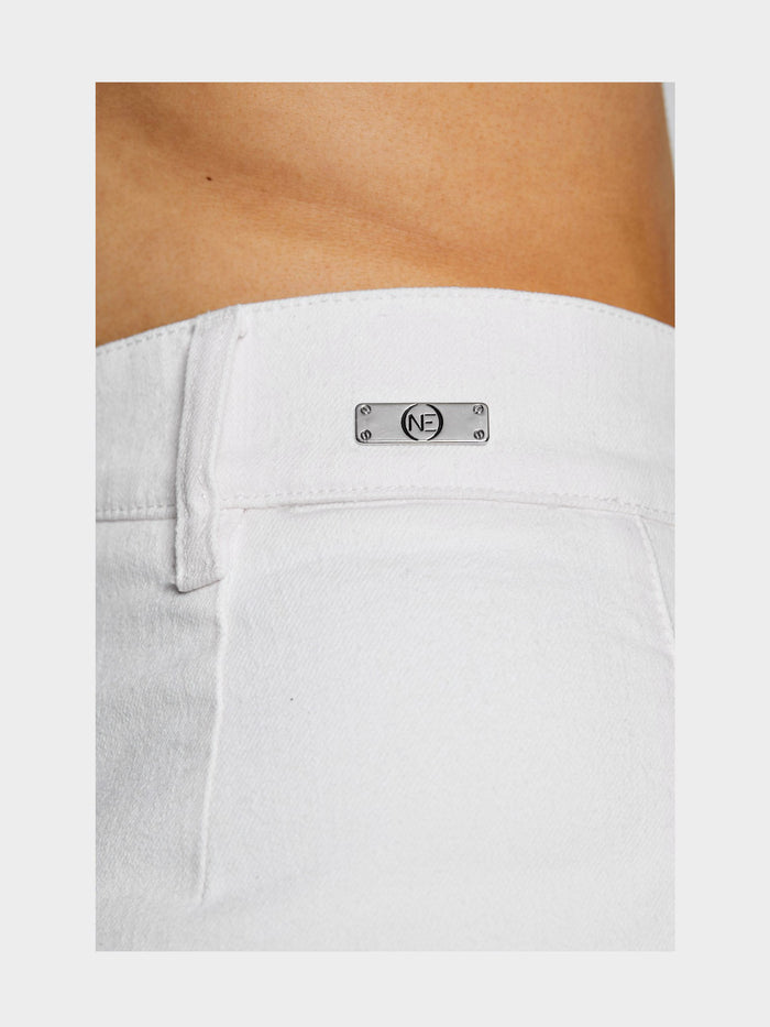 Women - White Denim Harem Pant  - Italian Organic Denim - detail 3 image - one denim