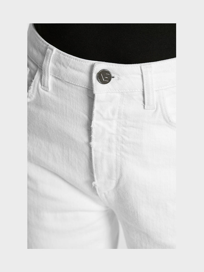 Women - White Straight Jean - Italian Organic Denim - detail front image - one denim