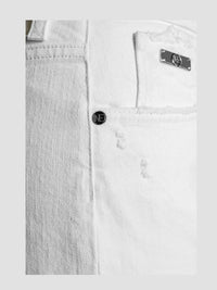 Women - White Straight Jean - Italian Organic Denim - detail side image - one denim