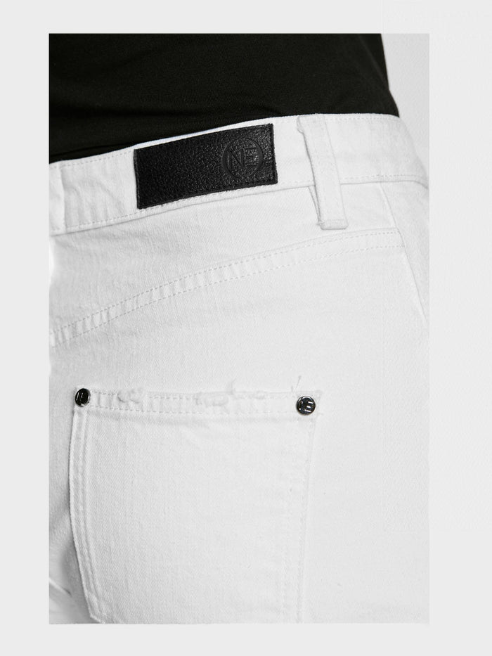 Women - White Straight Jean - Italian Organic Denim - detail back image - one denim