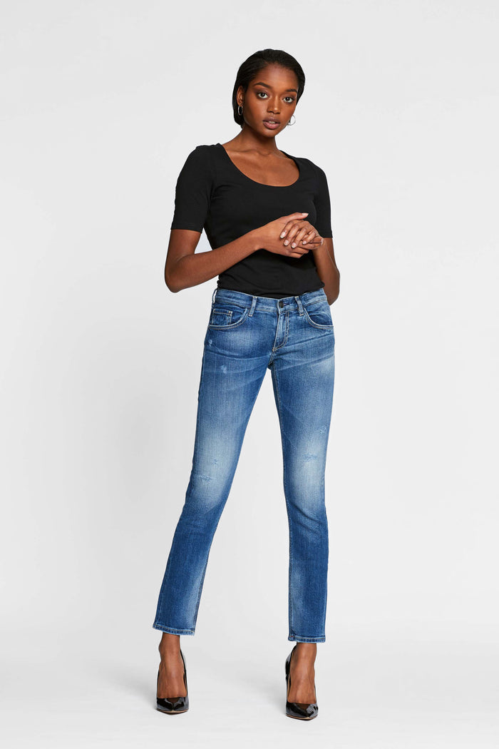 Women - Slim Boyfriend Jean - Light - Japanese Selvedge Denim - front image - one denim
