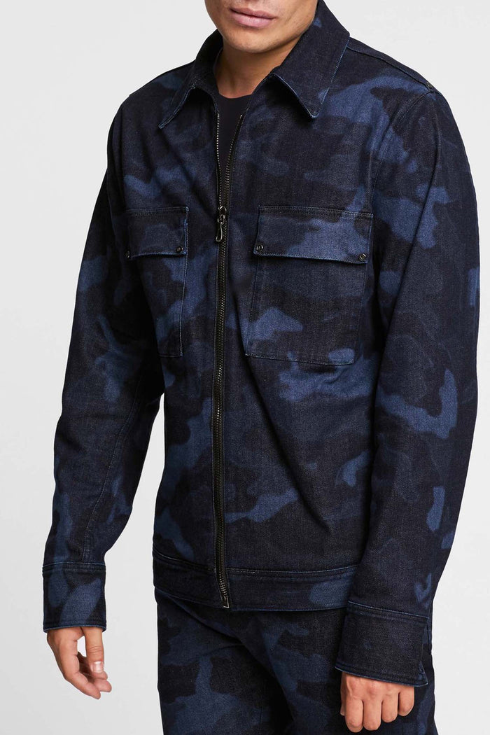 Men - Denim Jacket - Laser Military - Italian Organic - front image - one denim