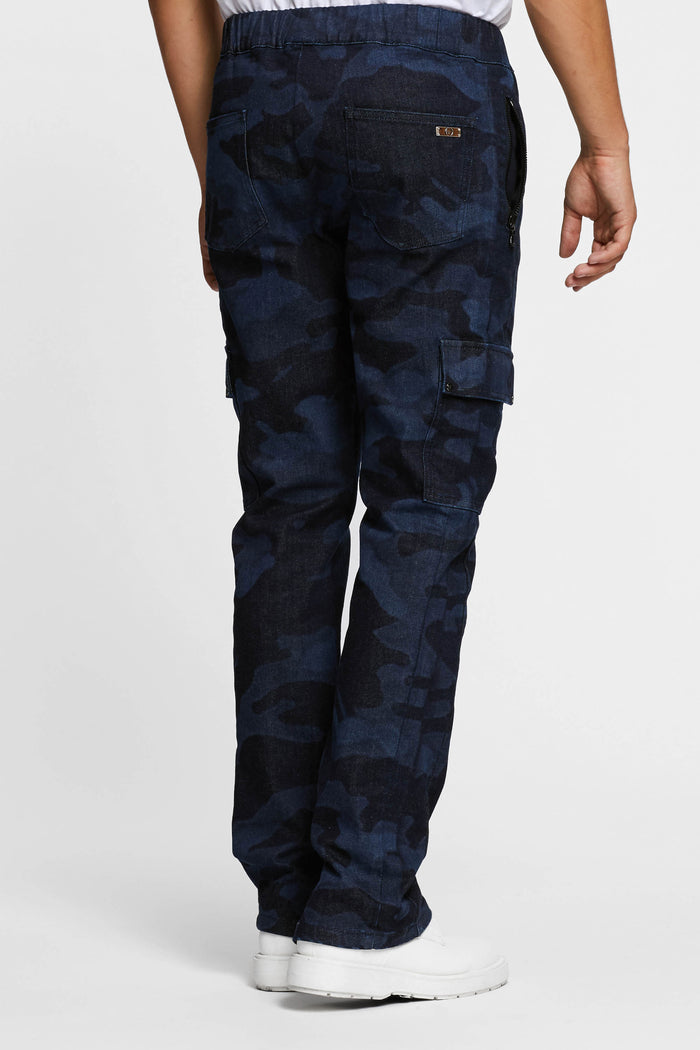 Men - Denim Cargo pant - Laser Military - Italian Recycled Denim - back image - one denim