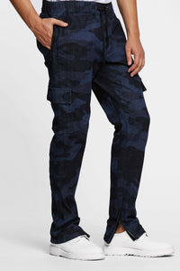 Men - Denim Cargo pant - Laser Military - Italian Recycled Denim - front image - one denim