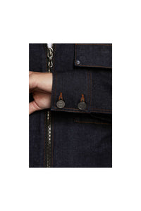 Men - Relaxed Fit Denim Jacket - Raw Italian Denim - detail 2 image - one denim