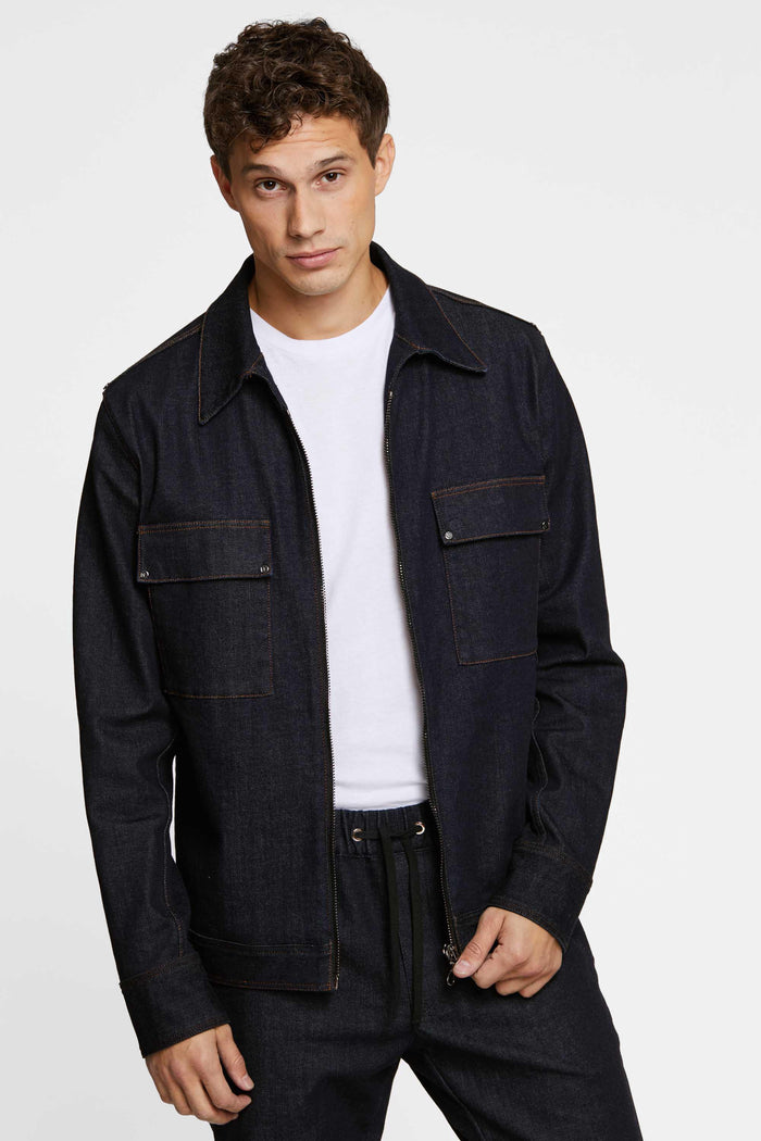 Men - Relaxed Fit Denim Jacket - Raw Italian Denim - front 2 image - one denim