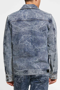 Men - Relaxed Fit  Denim Jacket - Italian Organic Denim - back image - one denim