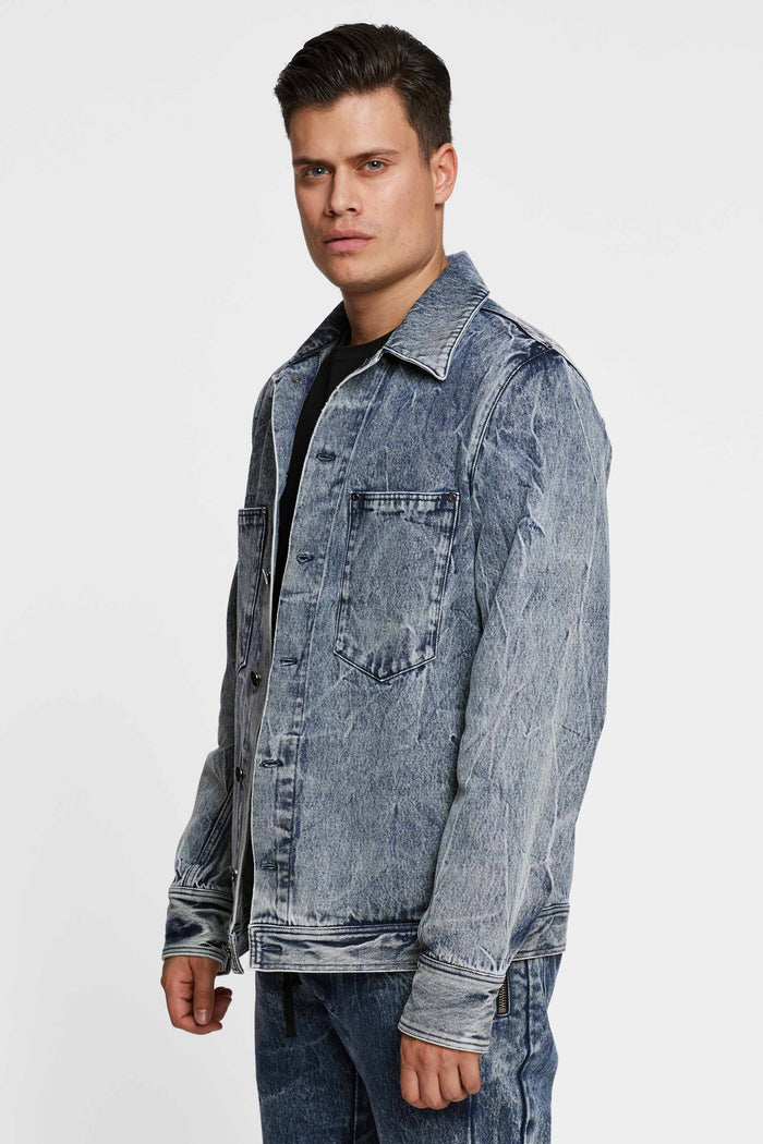 Men - Relaxed Fit  Denim Jacket - Italian Organic Denim - side image - one denim