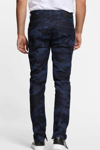 Men - Slim Fit Zip Jean - Laser Military - Italian Recycled Denim - back image - one denim