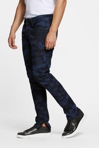 Men - Slim Fit Zip Jean - Laser Military - Italian Recycled Denim - side image - one denim