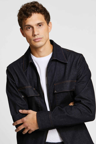 Men - Denim Jacket - Raw Italian Denim - front image - one denim