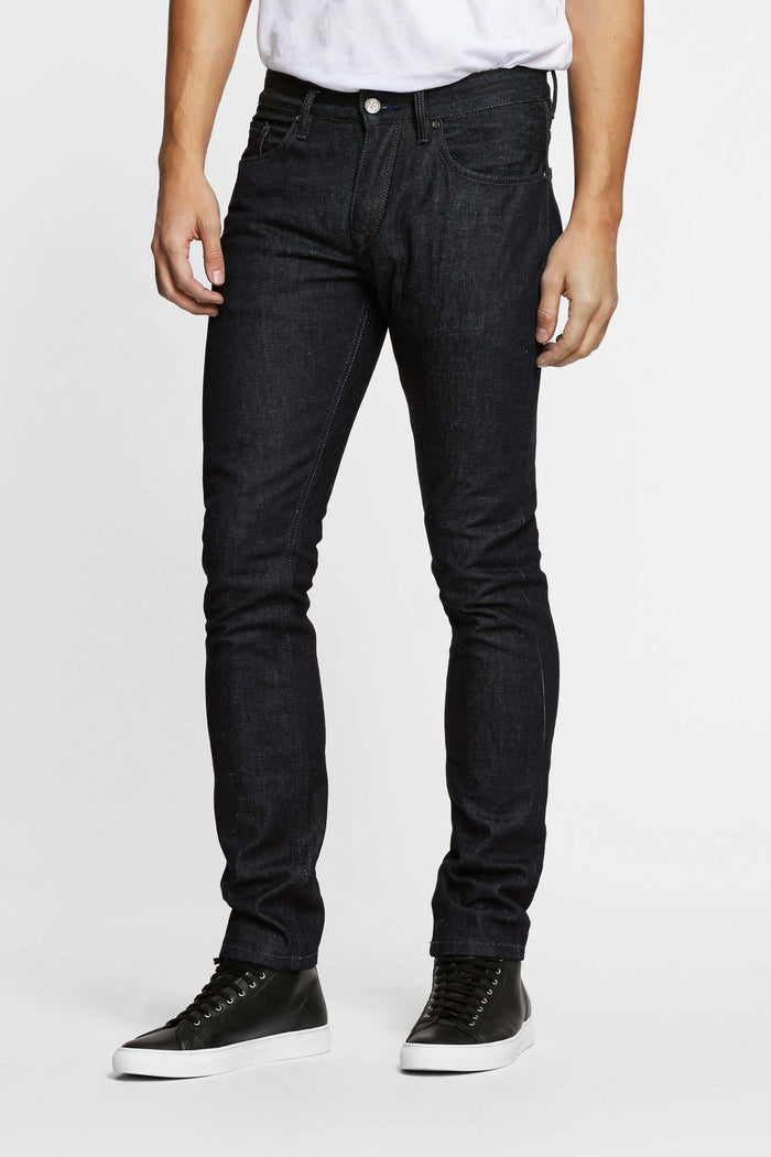 Men - Slim Fit Jean - Selvedge Denim - Italian Raw - front 2 image - one denim