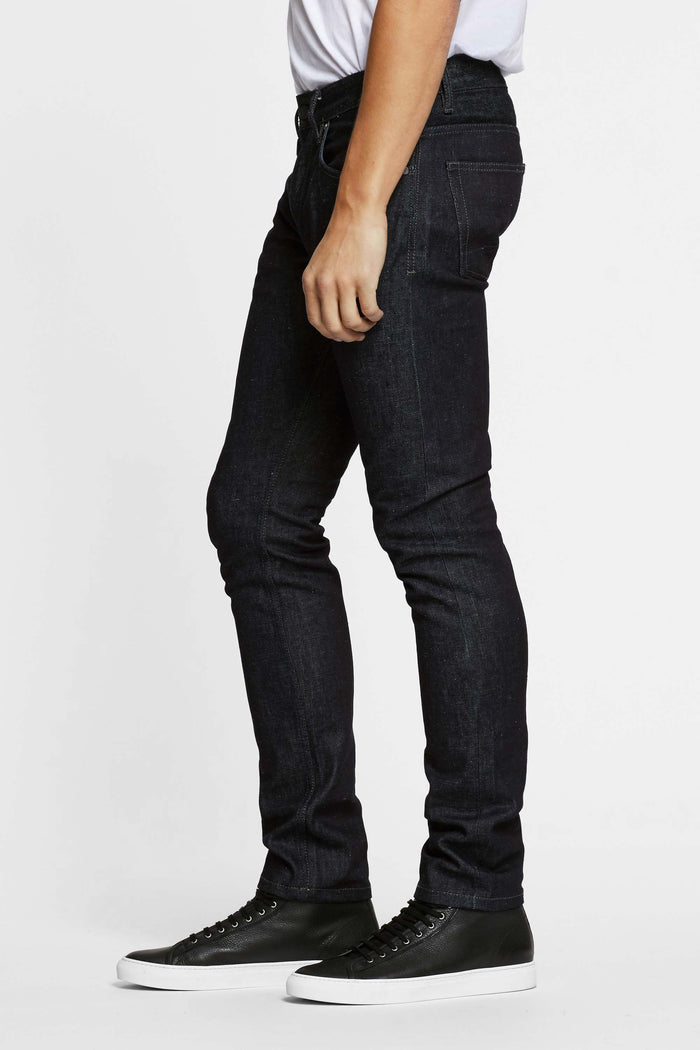 Men - Slim Fit Jean - Selvedge Denim - Italian Raw - side image - one denim