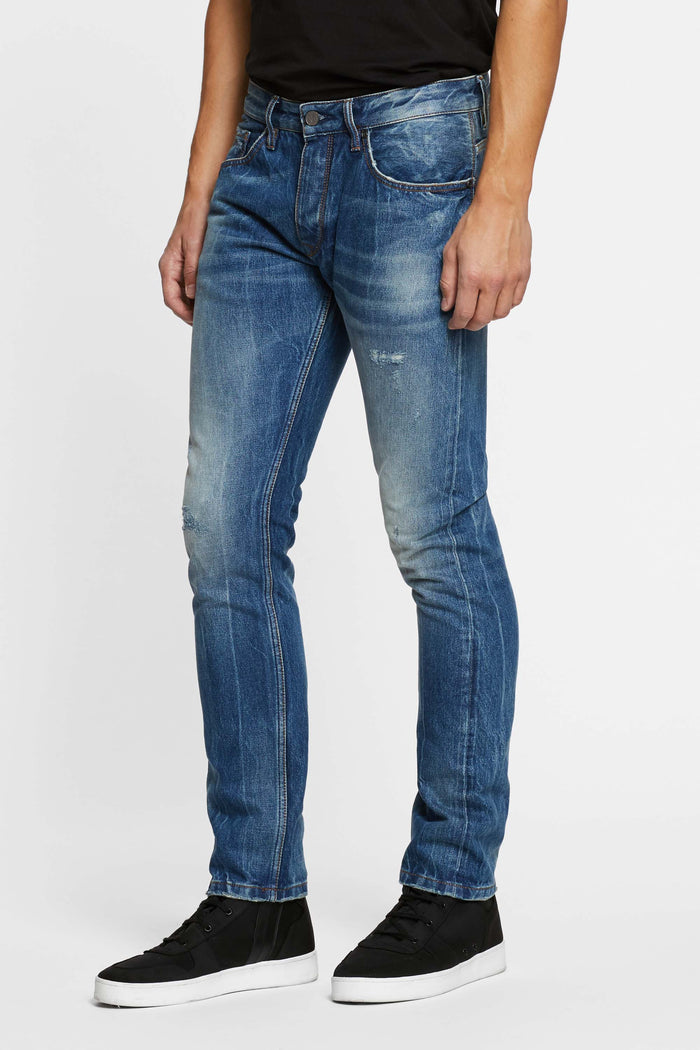 Men - Slim Fit Jean - Selvedge Denim - front 2 image - one denim