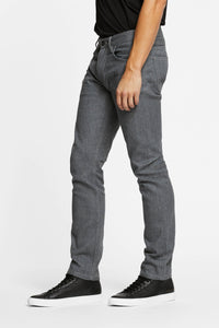 Men - Straight Fit Grey Jean - Raw Japanese Selvedge Denim - side image - one denim