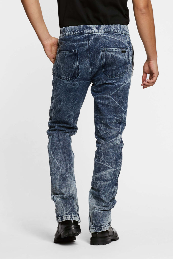 Men - Denim Drawstring Pant - Italian Organic Denim - back image - one denim