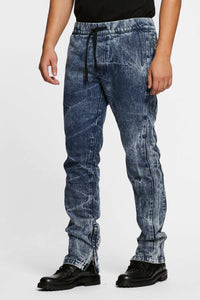 Men - Denim Drawstring Pant - Italian Organic Denim - front image - one denim