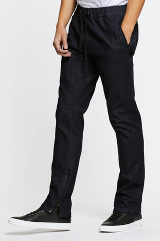 Men - Denim Drawstring Pant - Raw Italian Denim - side image - one denim