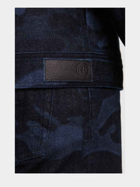 Men - Denim Jacket - Laser Military - Italian Organic - detail back image -one denim
