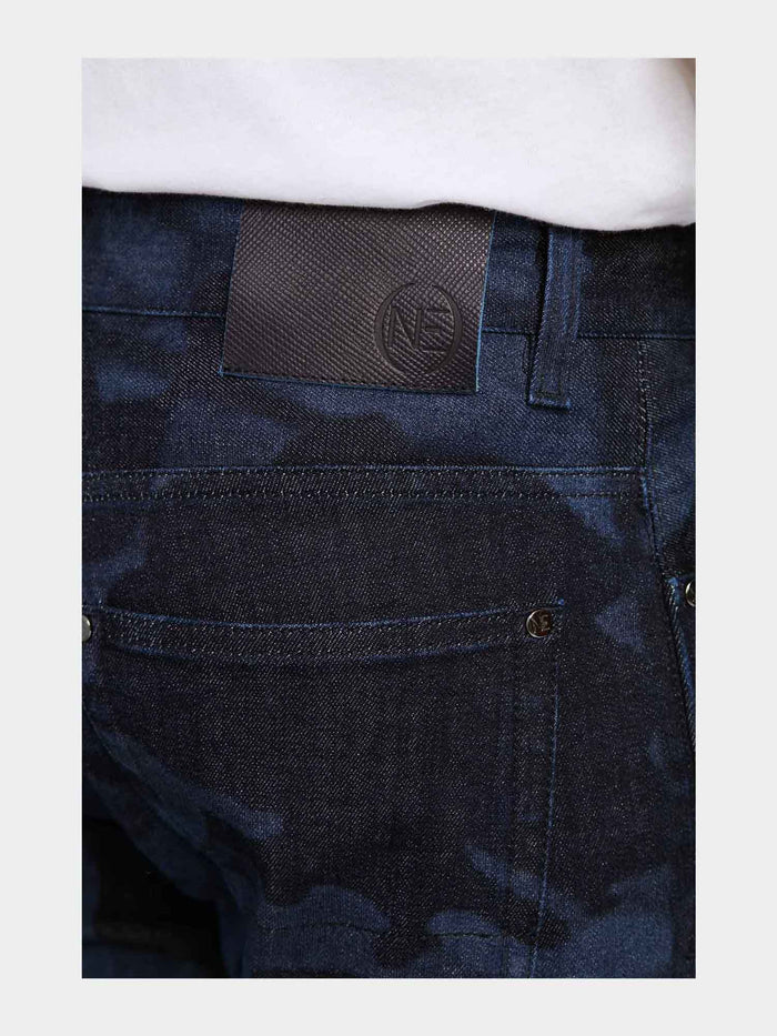 Men - Slim Fit Zip Jean - Laser Military - Italian Recycled Denim - detail 2 image - one denim